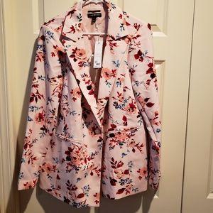 Lane Bryant floral print pink blazer